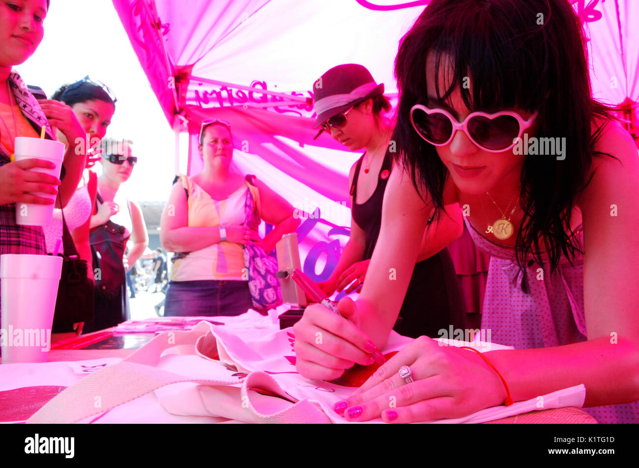 Singer Katy Perry backstage 2008 Vans Warped Tour Pomona Fairgrounds Pomona. - Stock Image