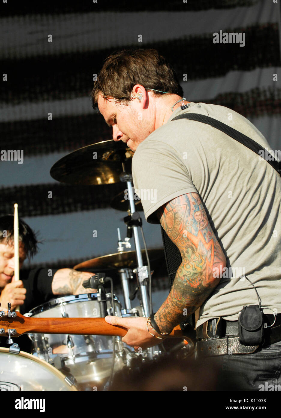 Tom DeLonge Angels Airwaves performing 2008 Vans Warped Tour Pomona Fairgrounds Pomona. - Stock Image