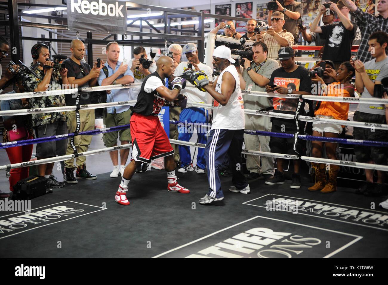 arrendamiento aeropuerto Intrusión  Boxer Floyd Mayweather Jr. trains front media Mayweather Boxing Gym Stock  Photo - Alamy