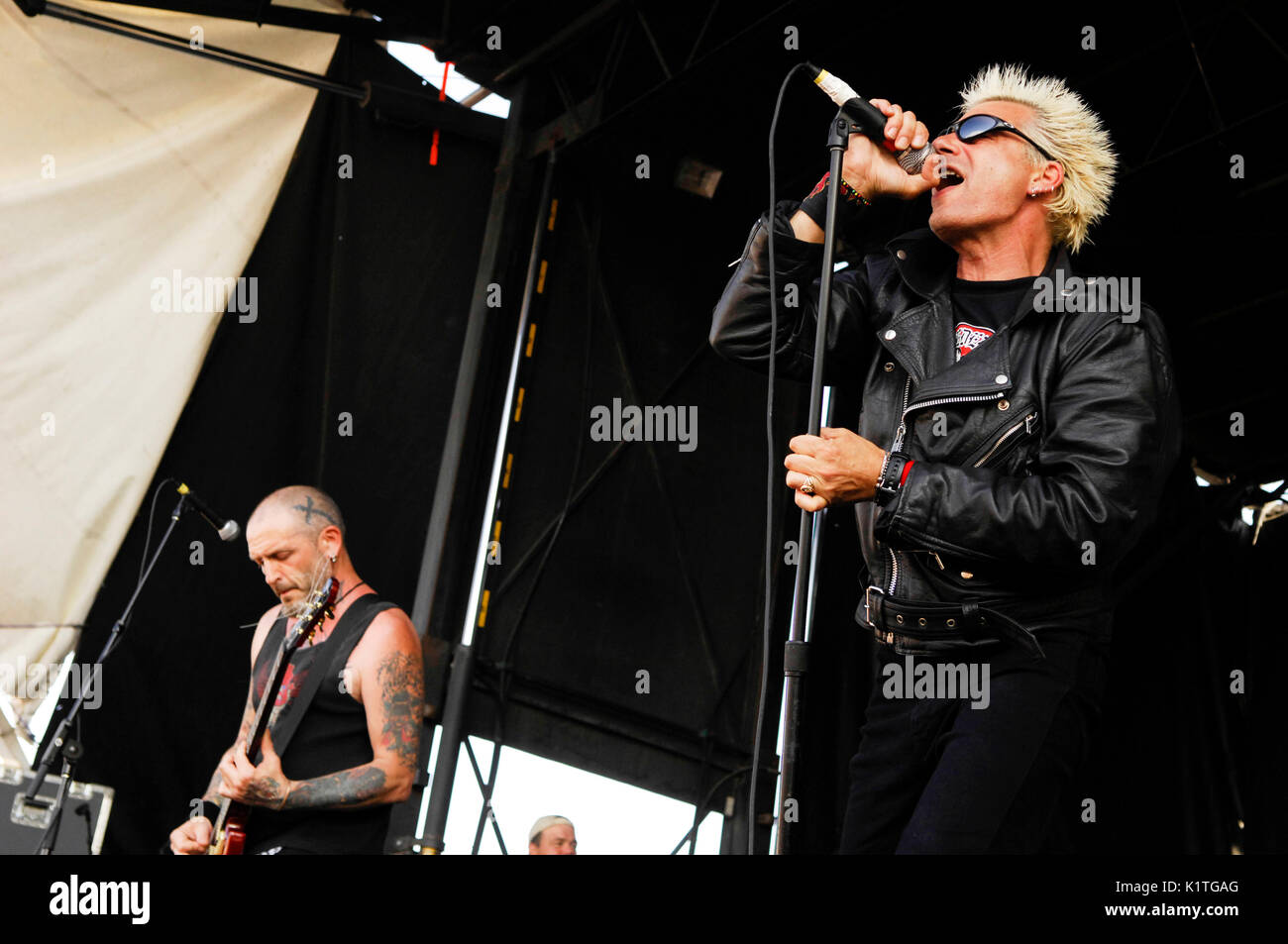 (L-R) Guitarist Colin 'Jock' Blyth vocalist Collin Abrahall Charged GBH performing 2008 Vans Warped Tour Coors Amphitheater San Diego. - Stock Image