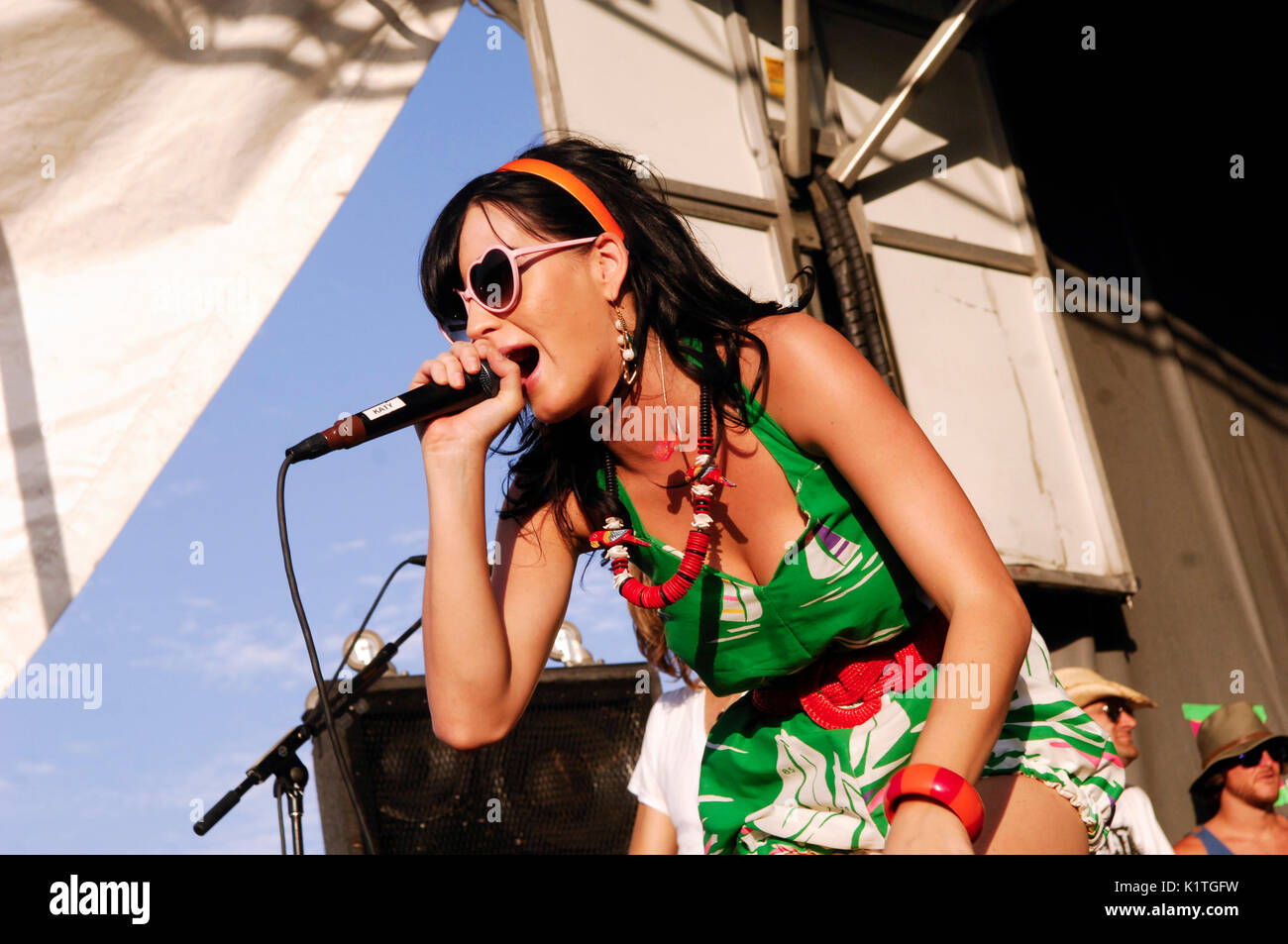 Katy Perry performing 2008 Vans Warped Tour Coors Amphitheater San Diego. - Stock Image