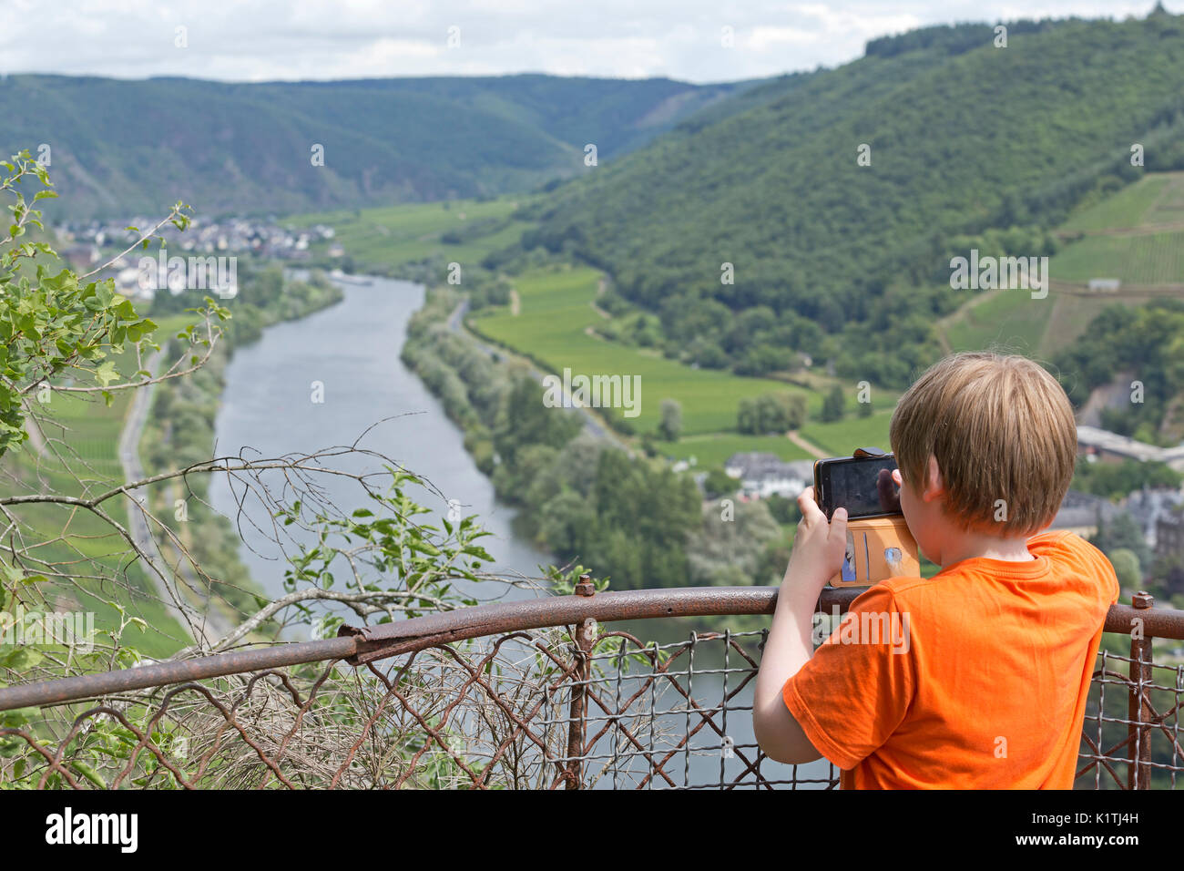 view of Valwig and Ernst from a viewpoint near Cochem, Moselle, Rhineland-Palatinate, Germany - Stock Image