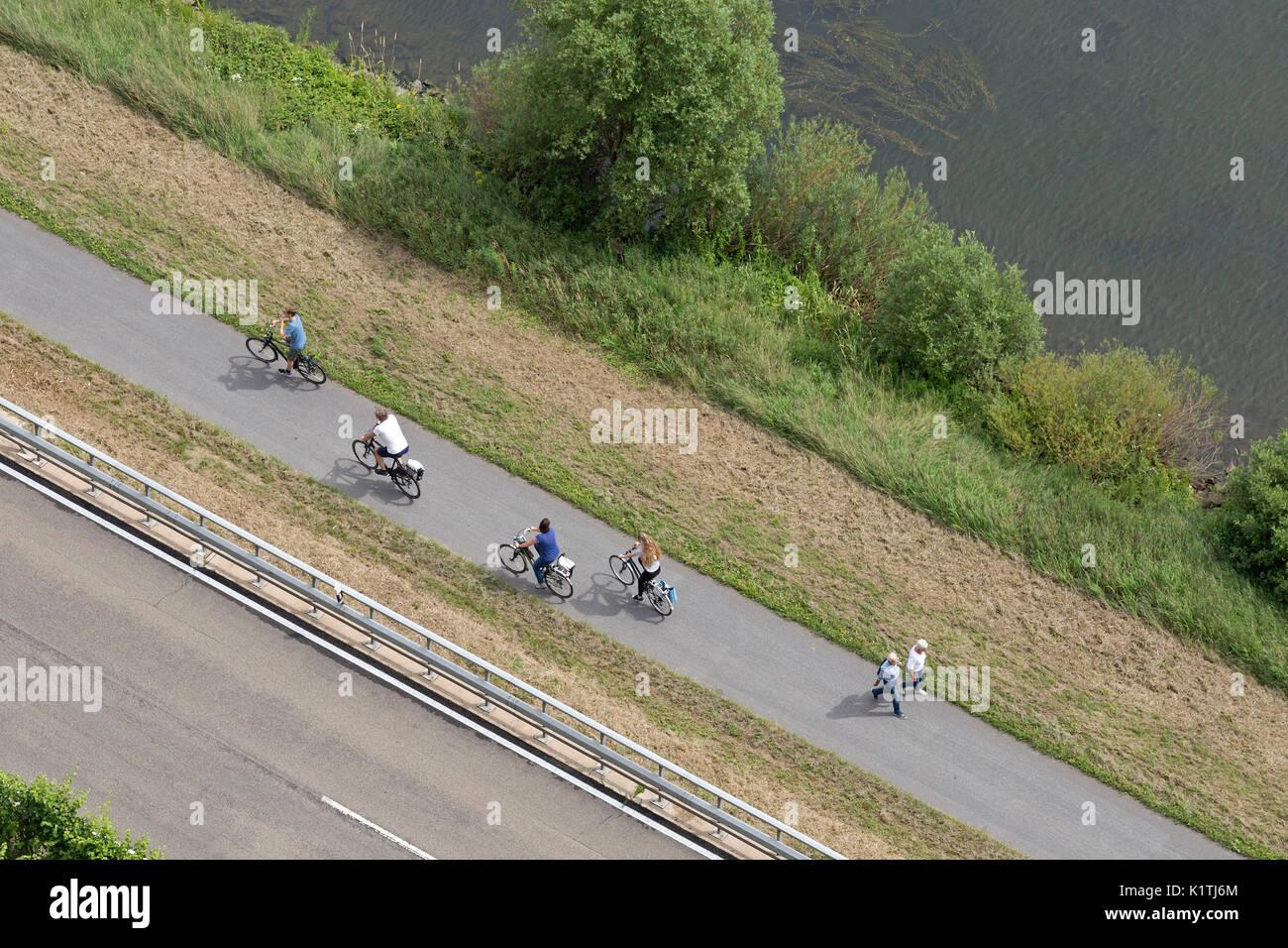 cycle track near Cochem, Moselle, Rhineland-Palatinate, Germany - Stock Image