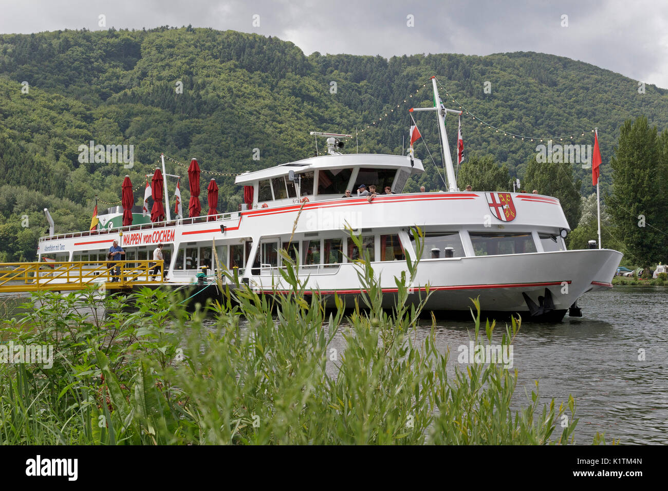 excursion boat, Beilstein, Moselle, Rhineland-Palatinate, Germany - Stock Image