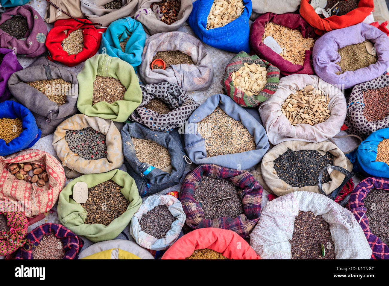 Bags with spices at a street market in Leh, Ladakh district of Kashmir, India - Stock Image