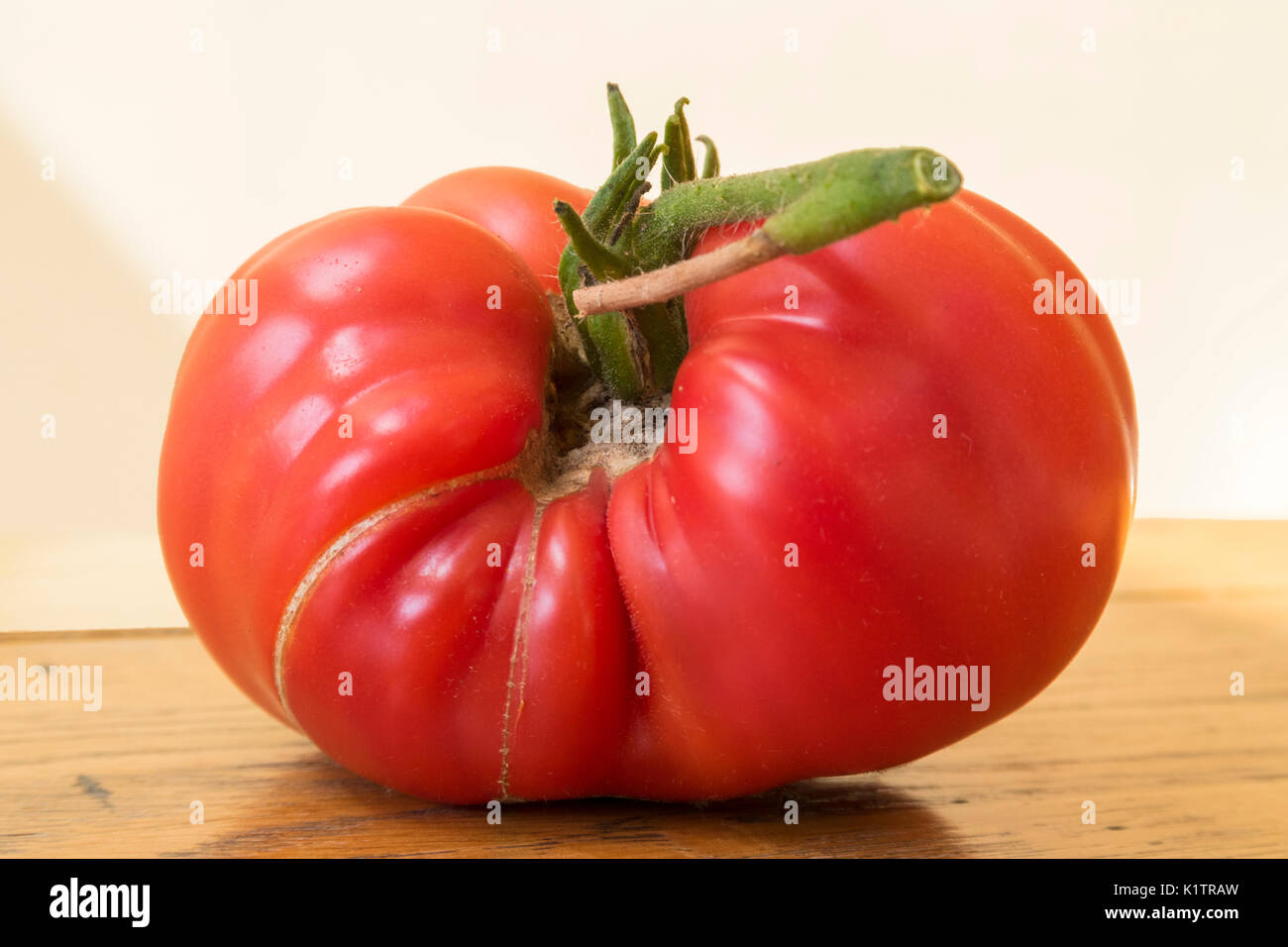 a large beef tomato heritage brandy wine growing into an awkward