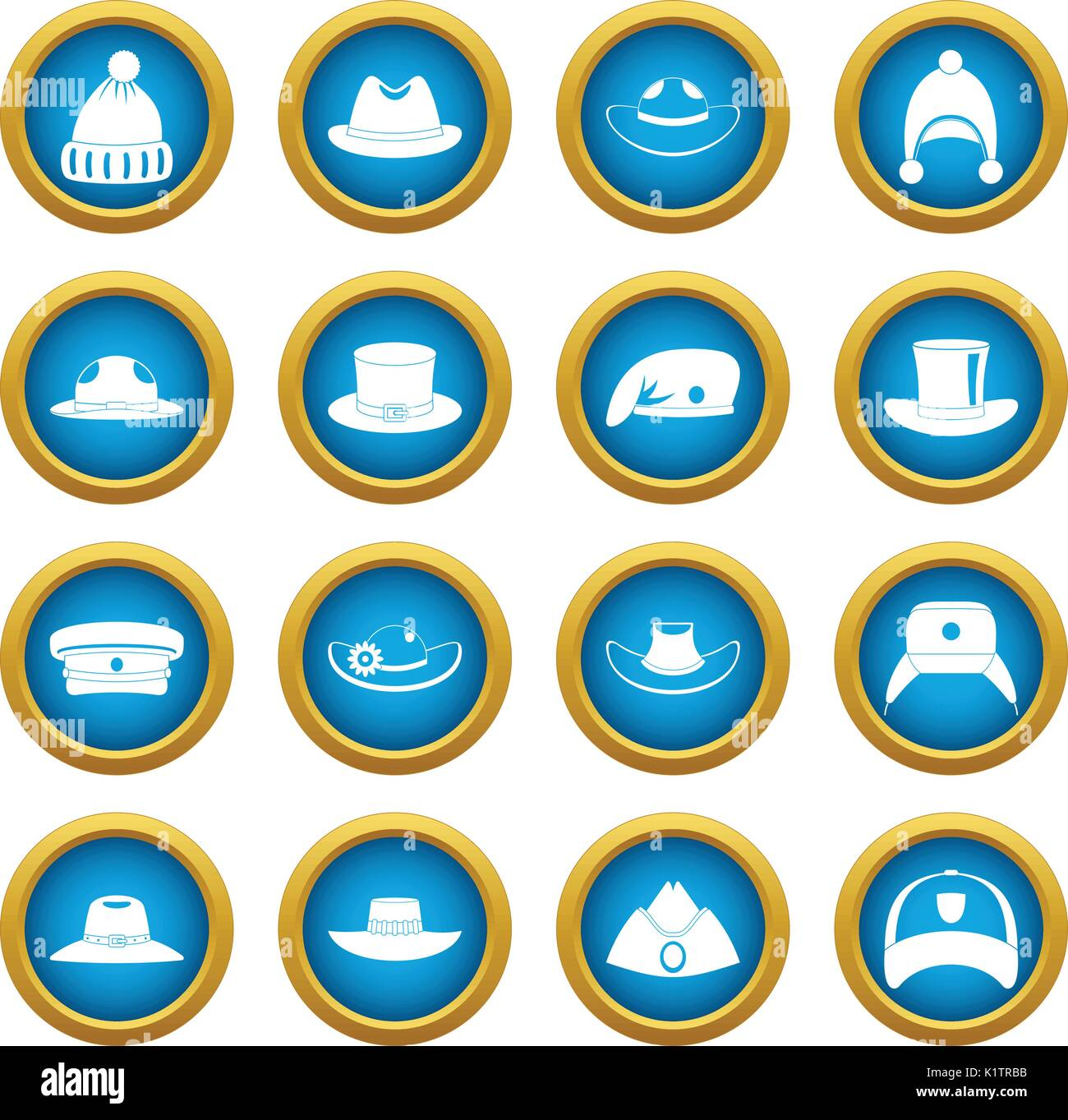 Headdress hat icons blue circle set - Stock Image