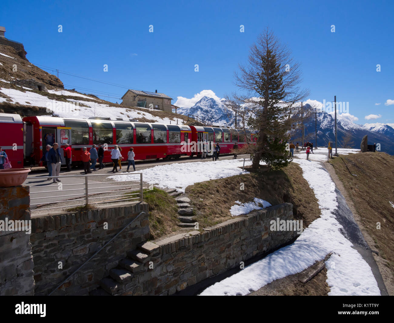 Alp Grum stop on the Bernina Express, Switzerland - Stock Image