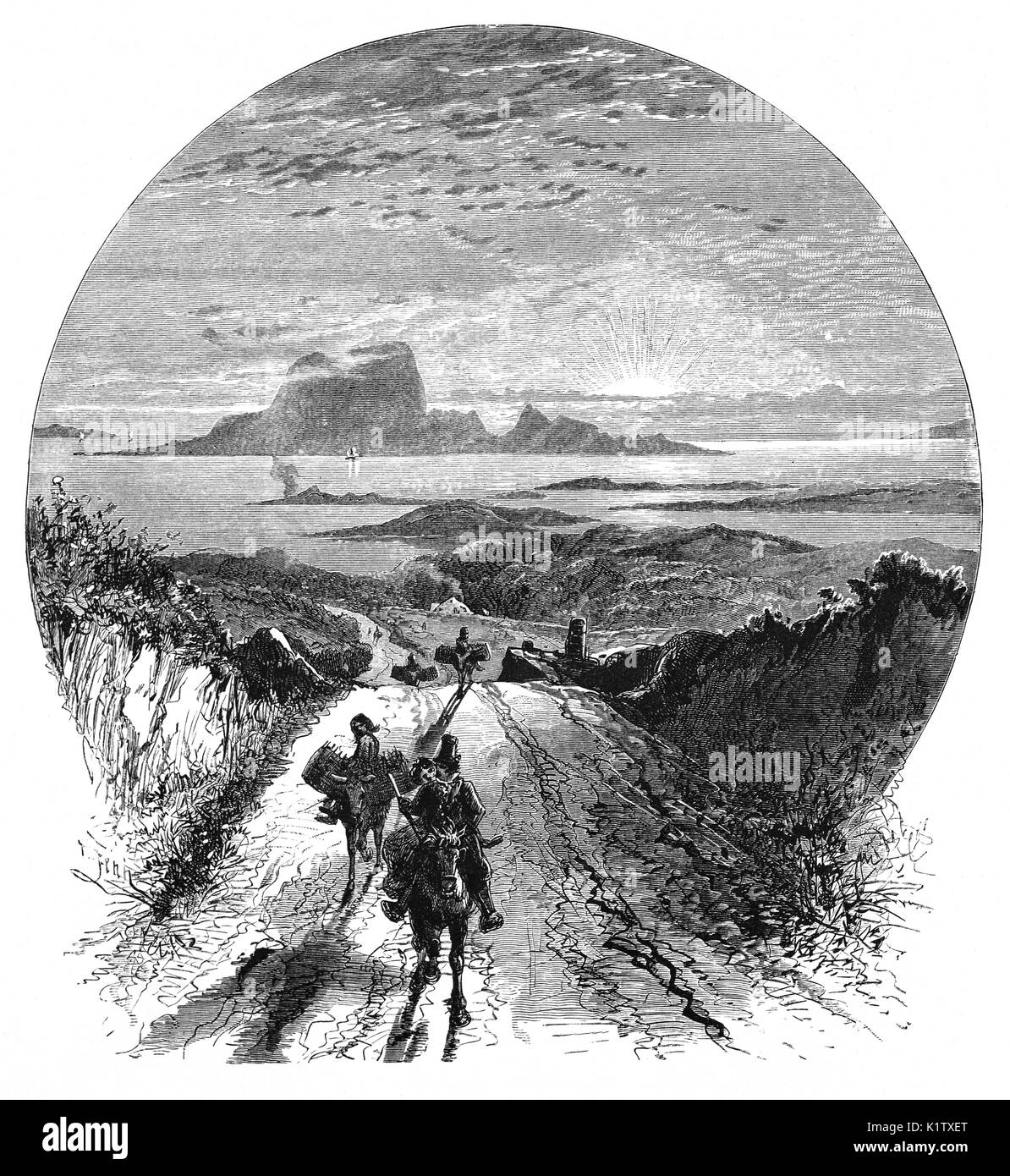 1870: Bringing home the turf (peat) by donkey with Clare Island and Clew Bay in the background, County Mayo, Ireland - Stock Image