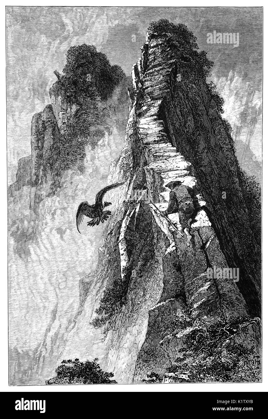 1870: A walker on the  narrow way known as 'One Man's Path that leads to the  summit of Slieve League, County Donegal, Ireland - Stock Image
