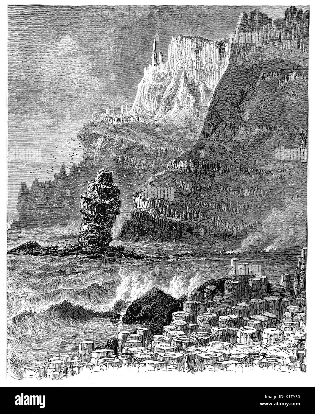 1870: 1870: The Giant's Causeway, an area of about 40,000 interlocking basalt columns, the result of an ancient Stock Photo
