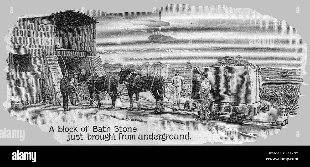Bath Stone - transporting a stone block from the quarry using a horse drawn cart - Stock Image
