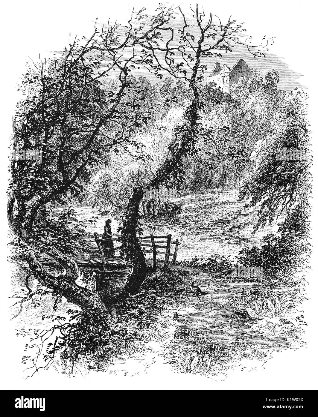 1870: A woman crossing a bruidge below Newark Castle, a ruined tower house standing in the grounds of Bowhill House, in the valley of the Yarrow Water. Three miles west of Selkirk in the Scottish Borders, it was granted to Archibald Douglas, Earl of Wigtown around 1423.  It was incomplete at this time and work continued until about 1475.  Selkirkshire, Scotland - Stock Image