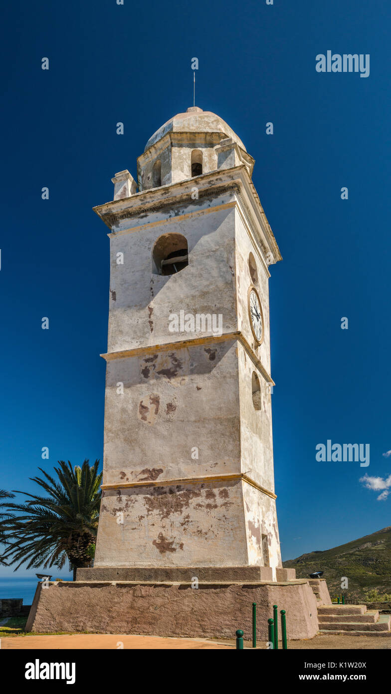 Bell tower in village of Canari, Cap Corse, Corsica, France - Stock Image