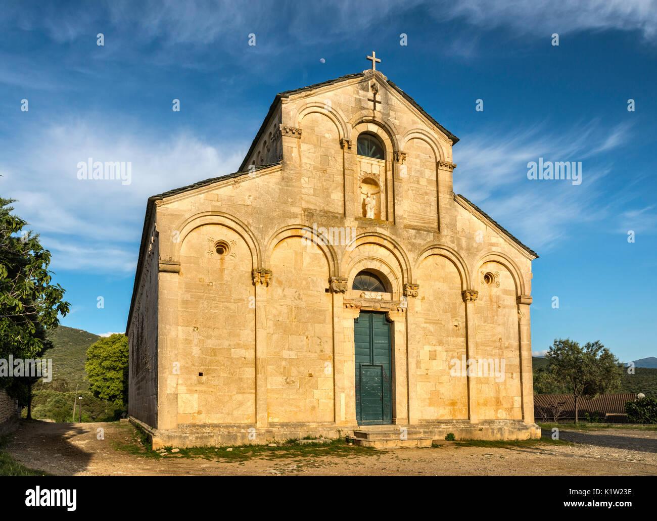 Cathedrale du Nebbio (Santa-Maria-Assunta), Assumption Cathedral, 1140, Romanesque style, in Saint-Florent,  Corsica, France - Stock Image