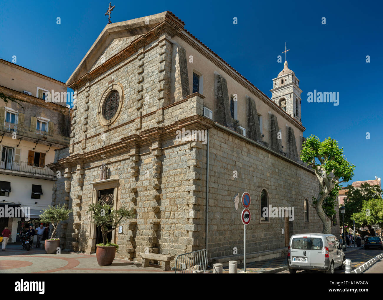 St-Jean-Baptiste Church, 16th century, at Place de la Republique, in Porto-Vecchio, Corsica, France Stock Photo