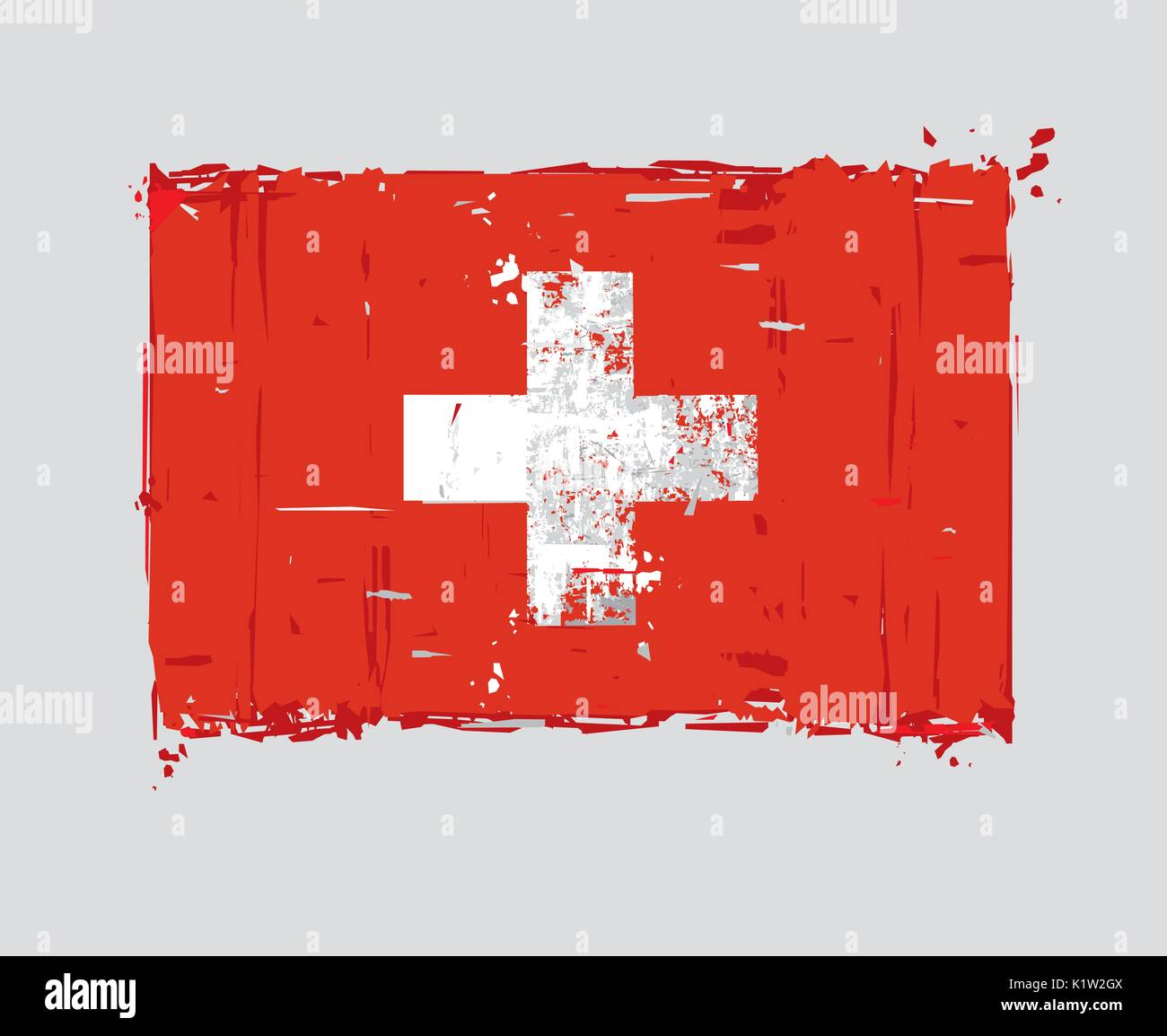 Swiss Flat Flag - Vector Artistic Brush Strokes and Splashes. Grunge Illustration, all elements neatly on layers - Stock Vector