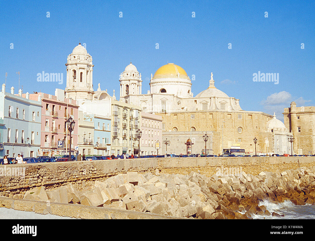 Cathedral from Campo del Sur. Cadiz, Spain. - Stock Image