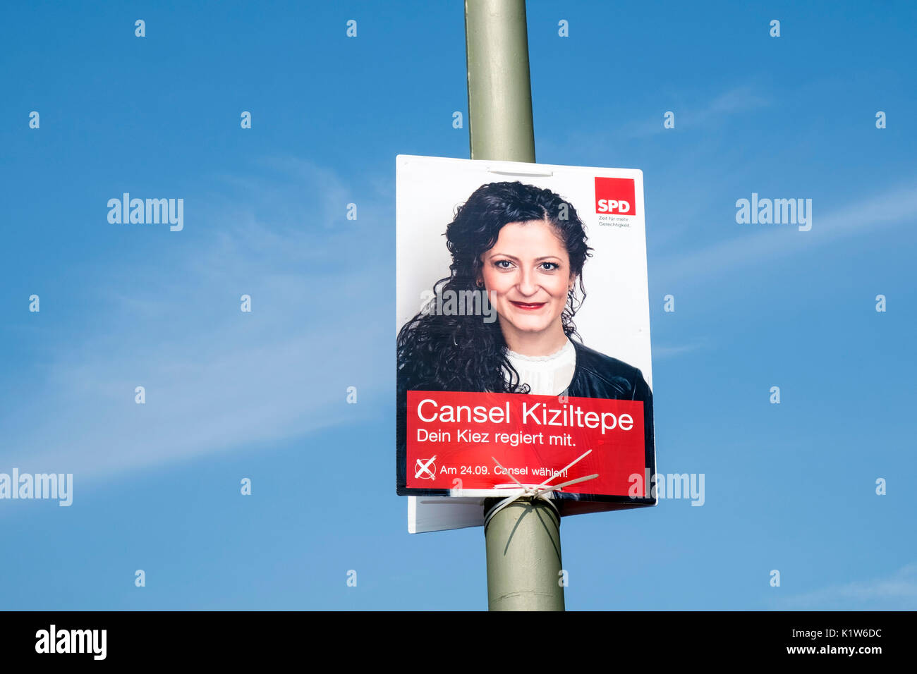 Election poster for SPD, Social Democratic Party of Europe, party in Berlin Germany August 2017. - Stock Image