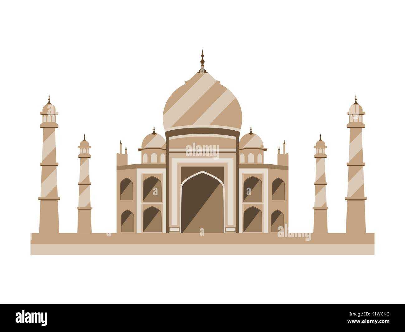 Taj Mahal flat style. Ancient Palace in India isolated on white background. Vector illustration. - Stock Image