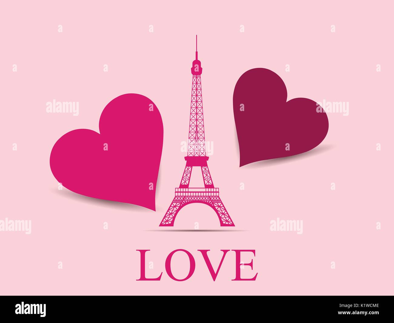 Eiffel Tower with hearts. Paris. Postcard Valentine's Day. Vector illustration. - Stock Vector