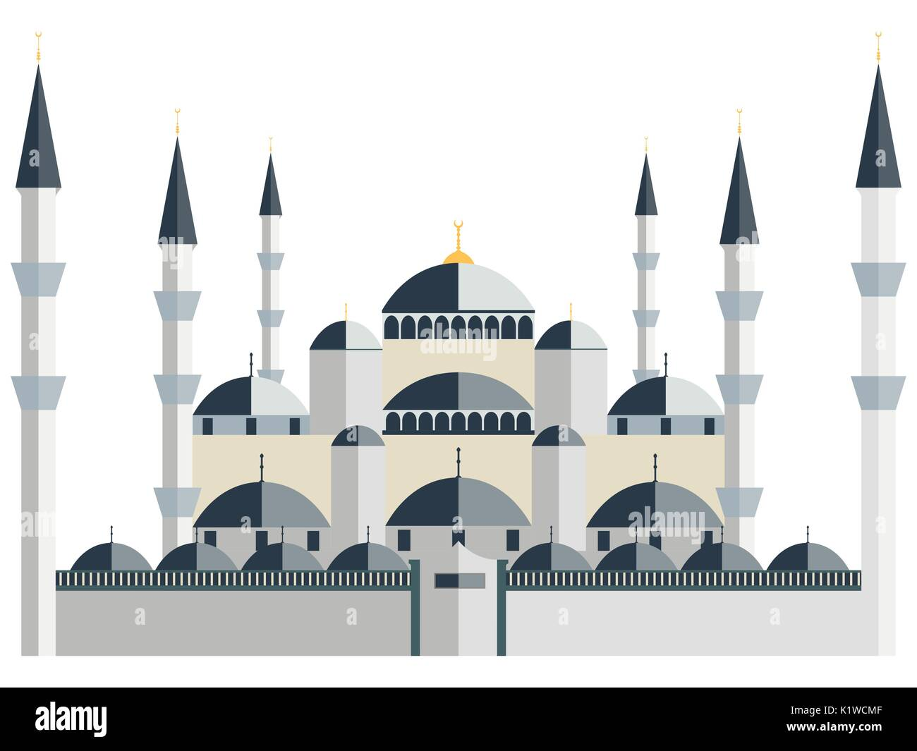 Mosque. Blue Mosque. Vector illustration. - Stock Image