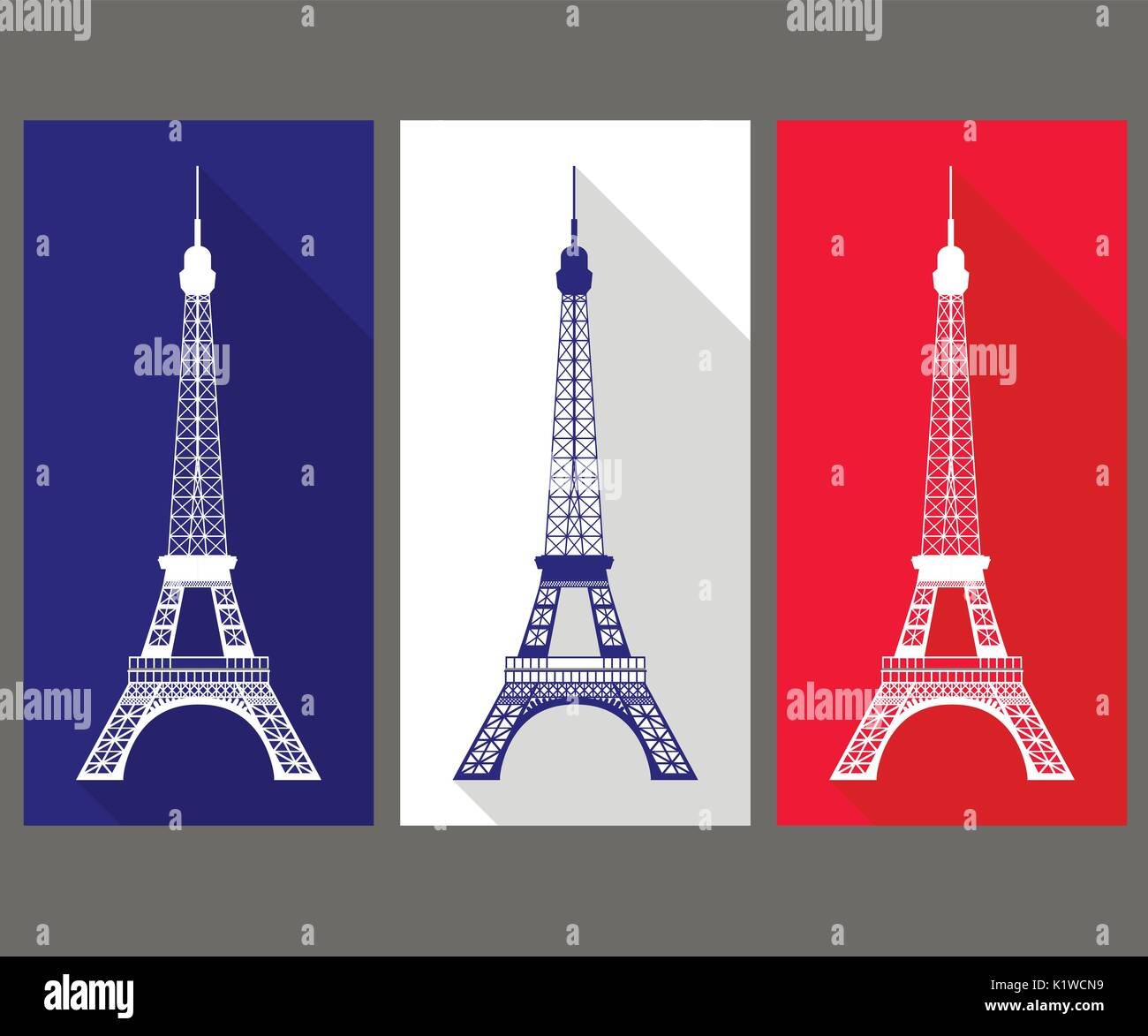 The Eiffel Tower in the colors of the French flag - Stock Vector