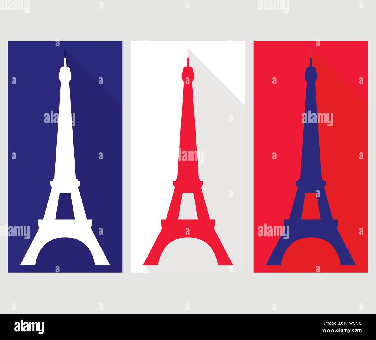 Eiffel Tower. Flat icon - Stock Vector