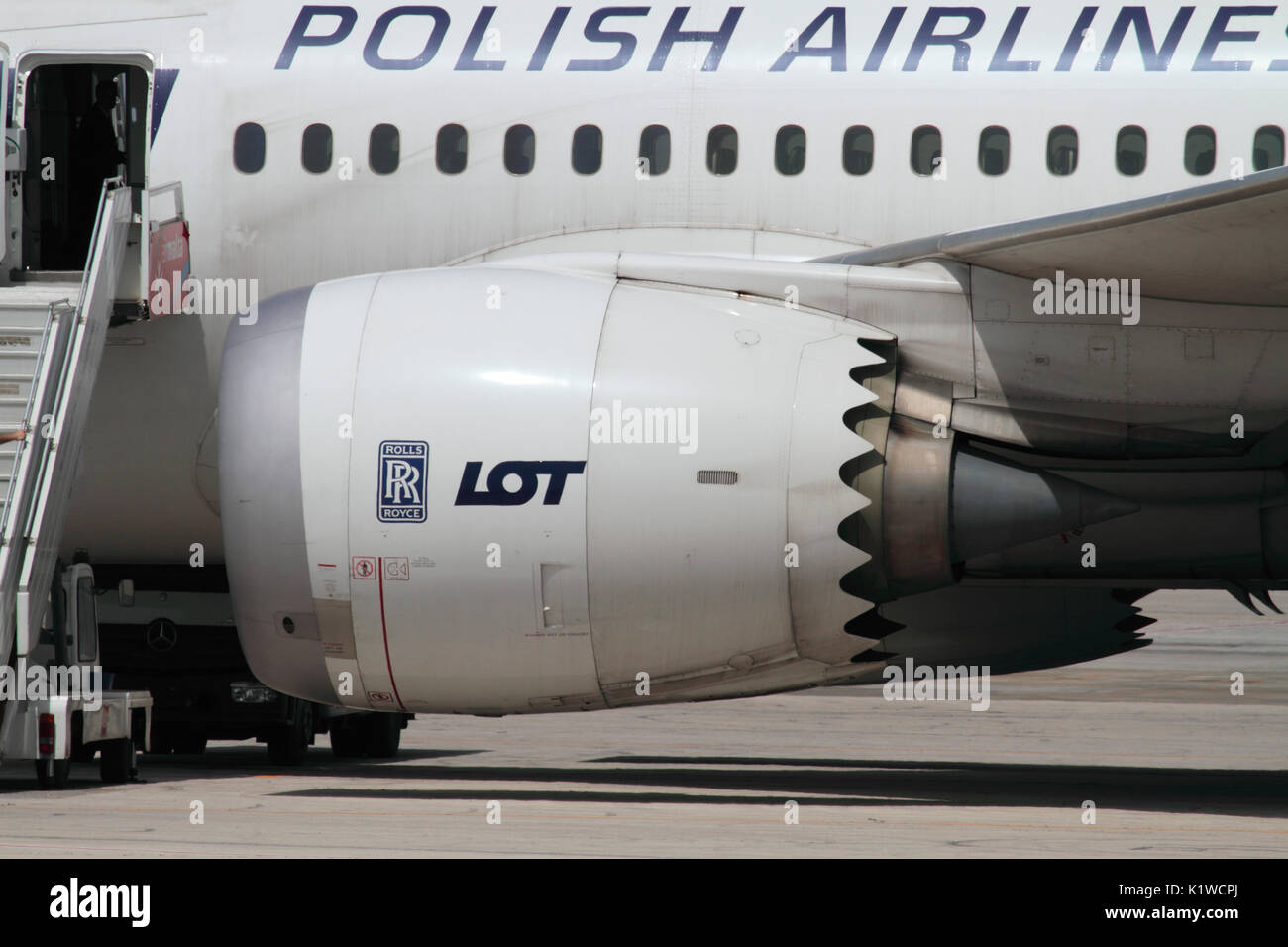LOT Polish Airlines Boeing 787 Dreamliner jet engine nacelle with its characteristic scalloped edge. The engine is a Rolls-Royce Trent 1000 turbofan. - Stock Image
