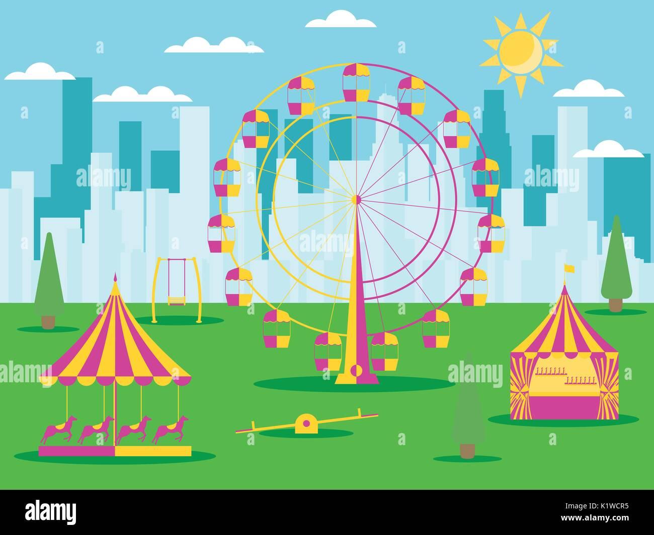 A Swing At An Amusement Park Stock Photos Amp A Swing At An