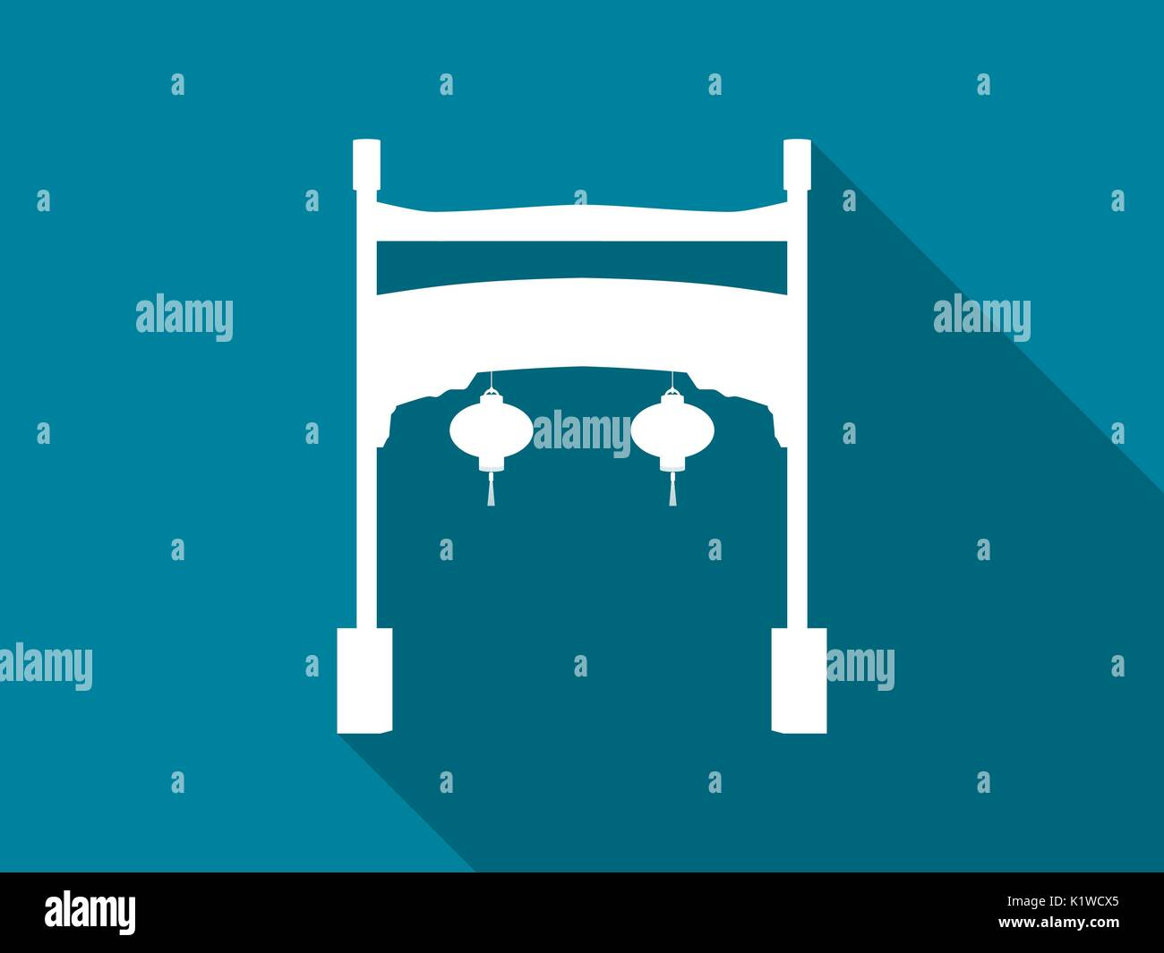 Chinese gate flat icon with long shadow. vector illustration. - Stock Vector