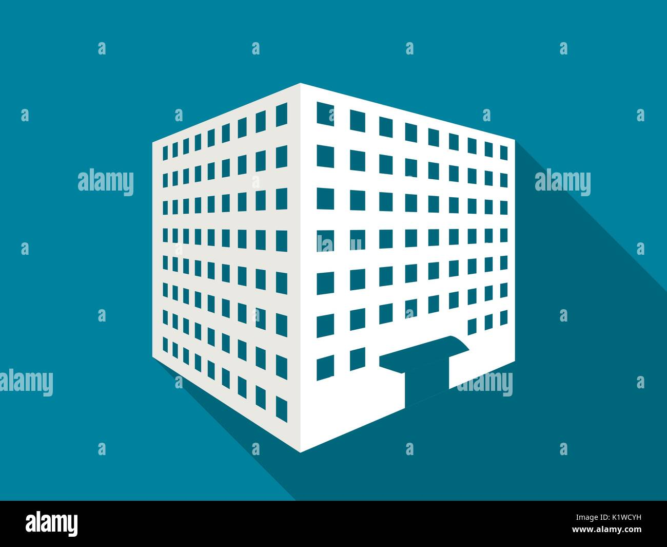 Multi-storey building with a long shadow. Flat icon. Vector illustration. Stock Vector