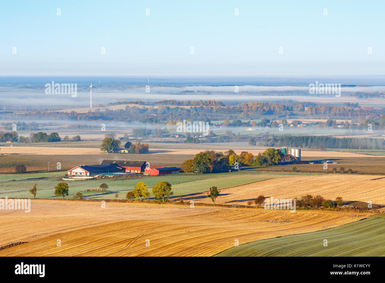 Agricultural view with a farm on the fields and fog in autumn Stock Photo