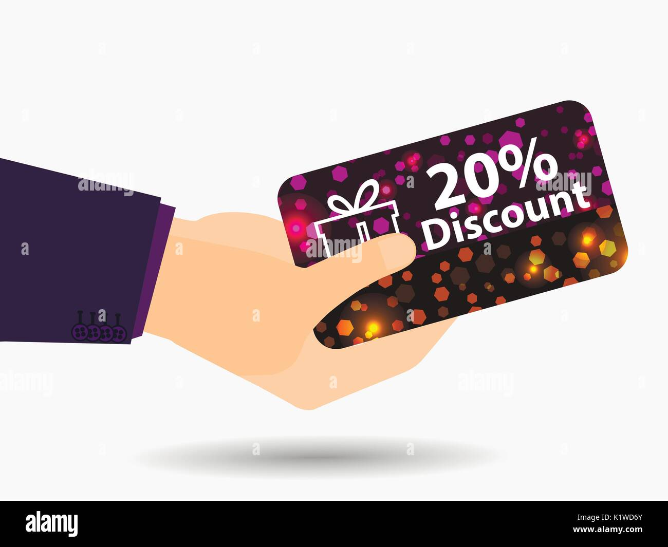 Coupon for a 20-percent discount in the hand. Gift card with bright sparks. Vector illustration. - Stock Vector