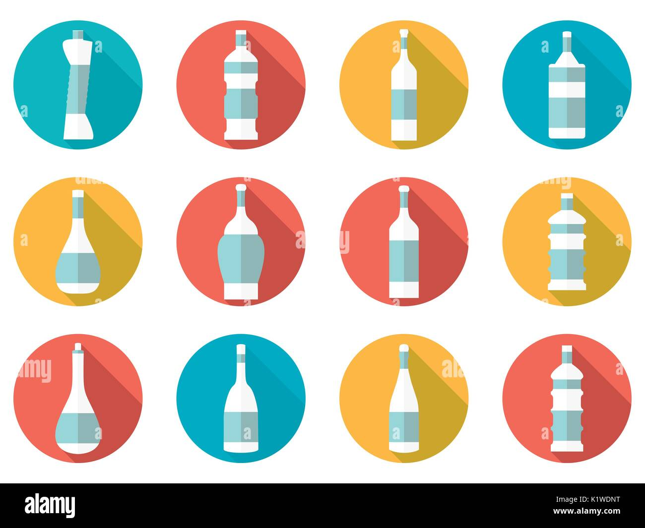 Bottle. Bottle of water. Flat icon with long shadow on white background. Vector illustration. - Stock Vector
