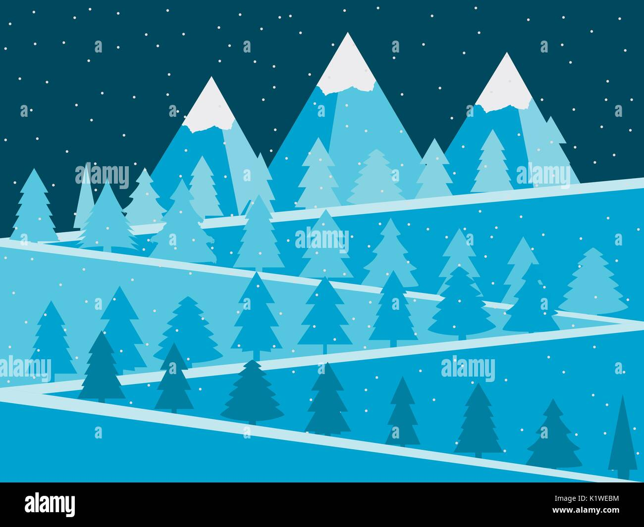 Mountain landscape with Christmas trees. Snowy peaks flat design. Vector illustration. - Stock Vector