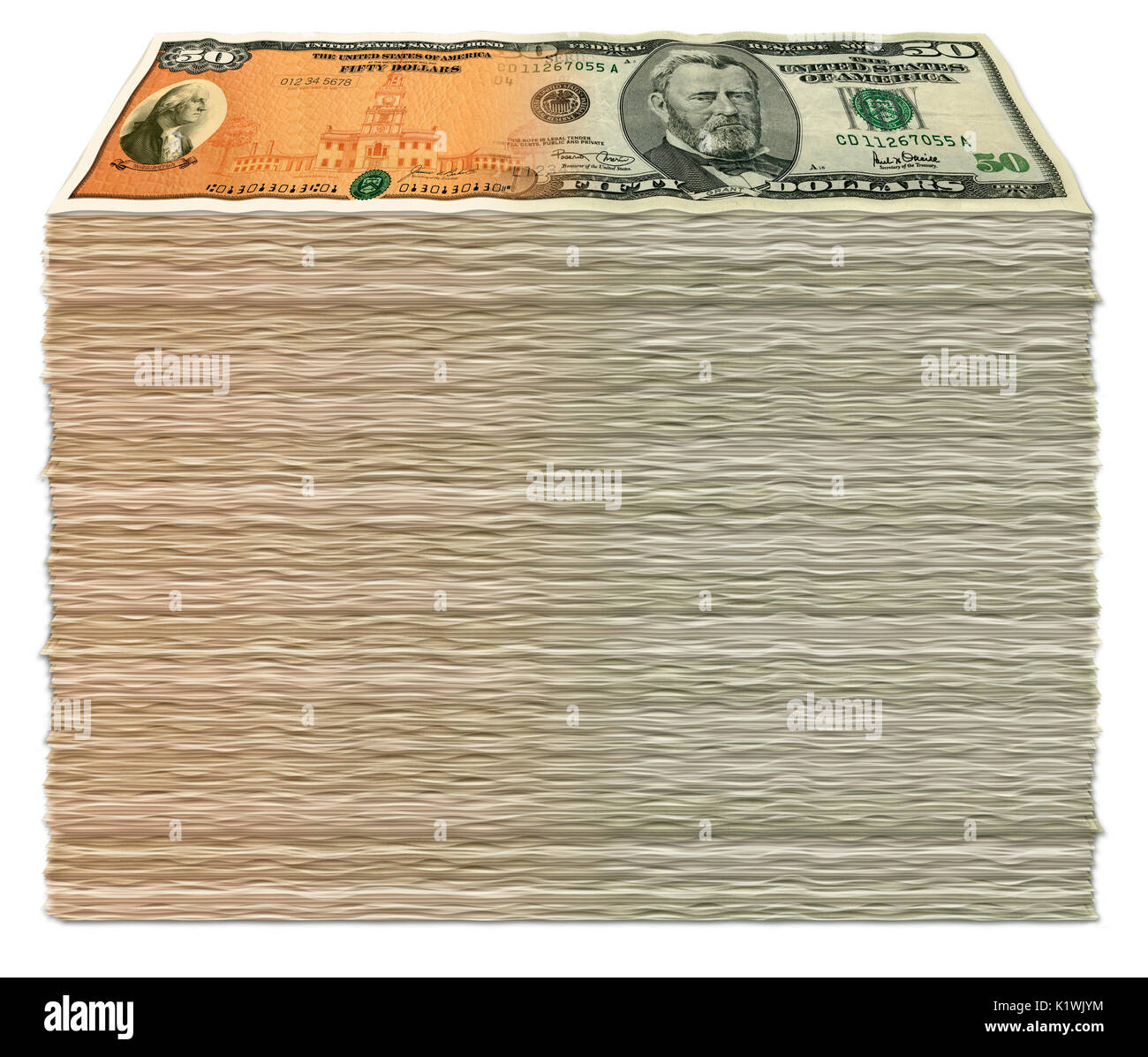 Photo Illustration of a stack of U.S. Savings Bond -50 dollar bill composites. - Stock Image