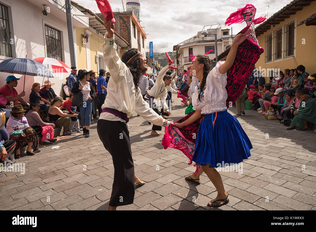 June 17, 2017 Pujili, Ecuador: street dancers performing in traditional clothing during Corpus Christi Stock Photo