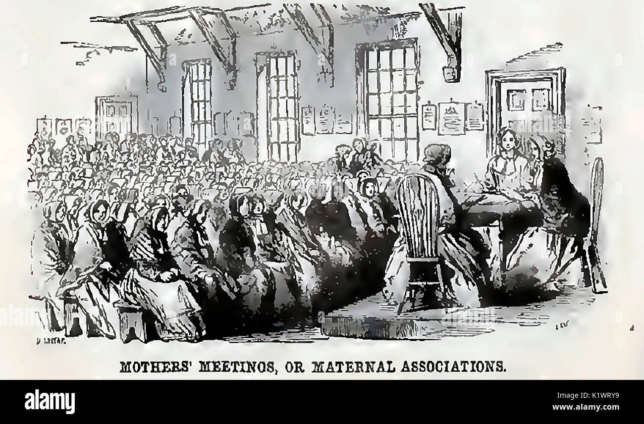 A Victorian English 'Mothers Meeting' at a 'Maternal Association' gathering - Stock Image