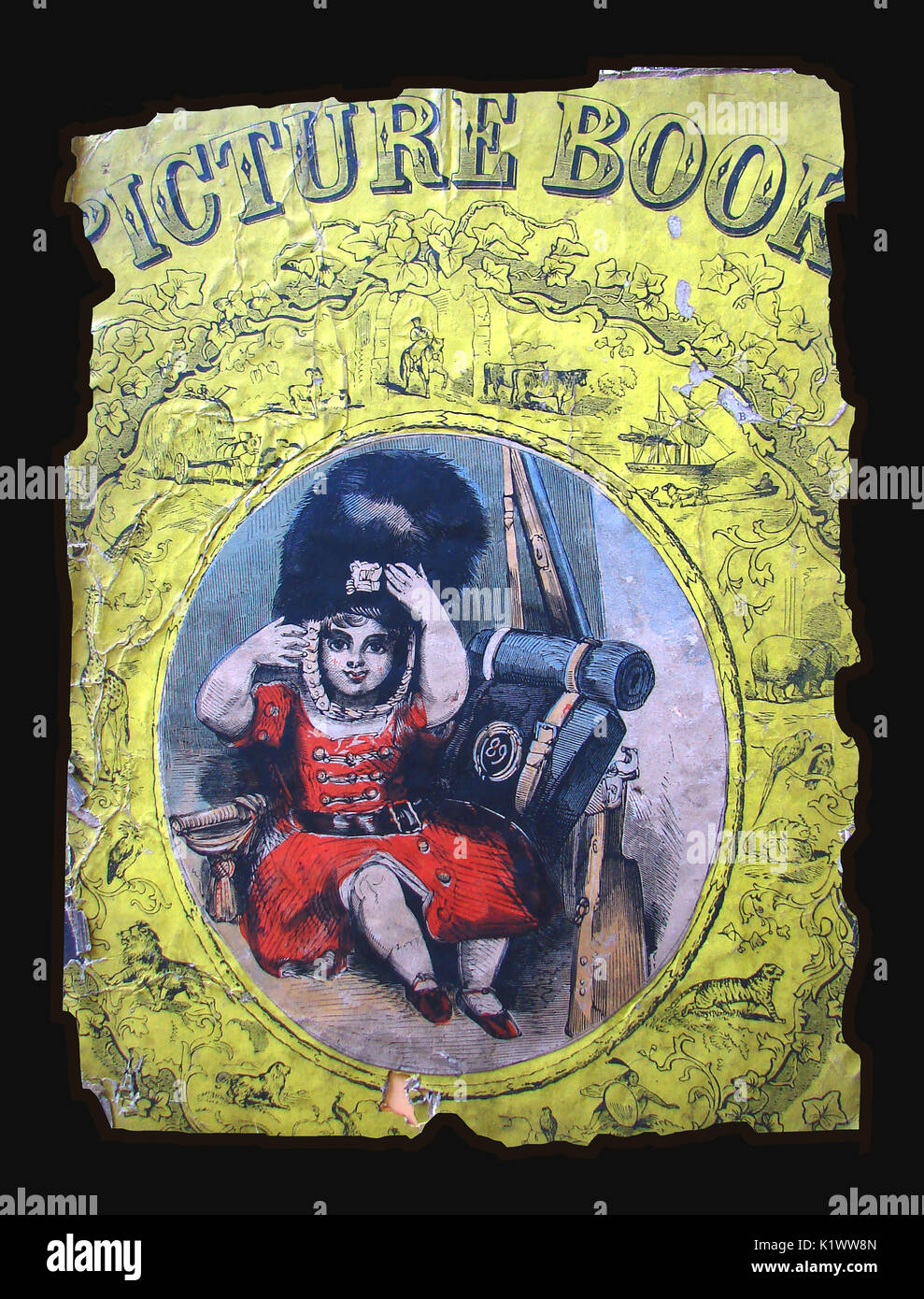 A fragment of a Victorian child's scrapbook featuring a girl dressed in the uniform of a Royal Scot's Guardsman Stock Photo
