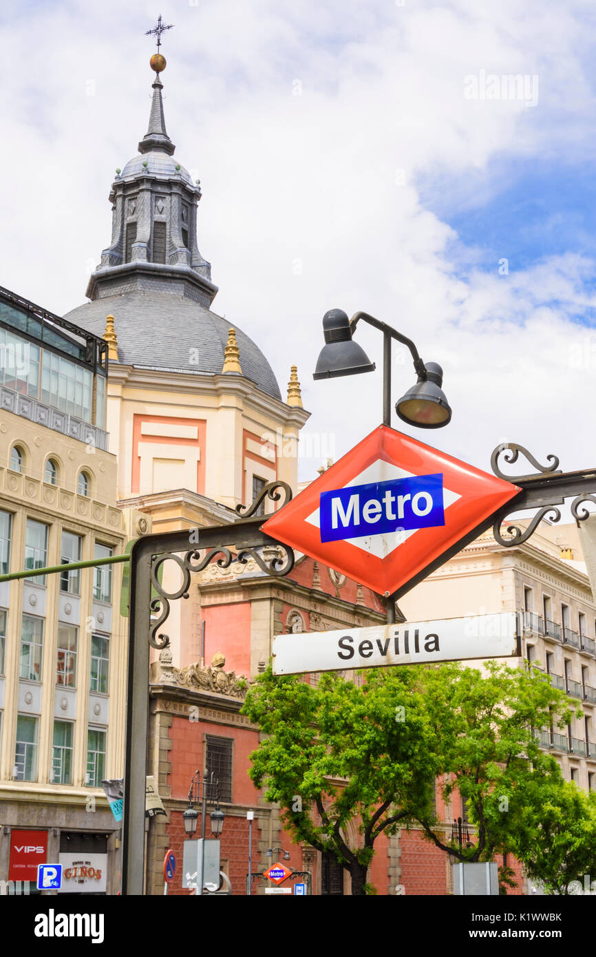 Madrid Metro Sevilla sign on the Gran Via, Madrid, Spain - Stock Image