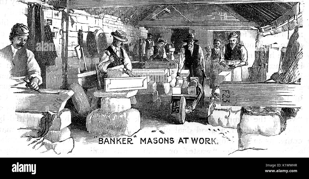 Bath Stone - banker Masons at work in the workshop - Stock Image