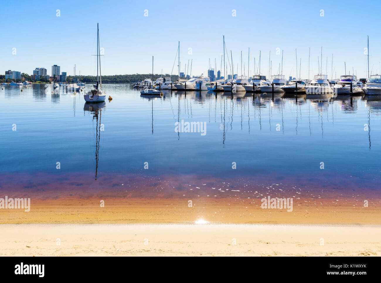 Boats moored at Royal Perth Yacht Club in Matilda Bay on the Swan River, Crawley, Perth, Western Australia Stock Photo