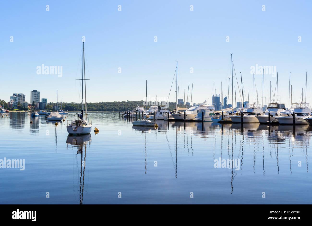 Boats moored at Royal Perth Yacht Club in Matilda Bay on the Swan River, Crawley, Perth, Western Australia Stock Photo