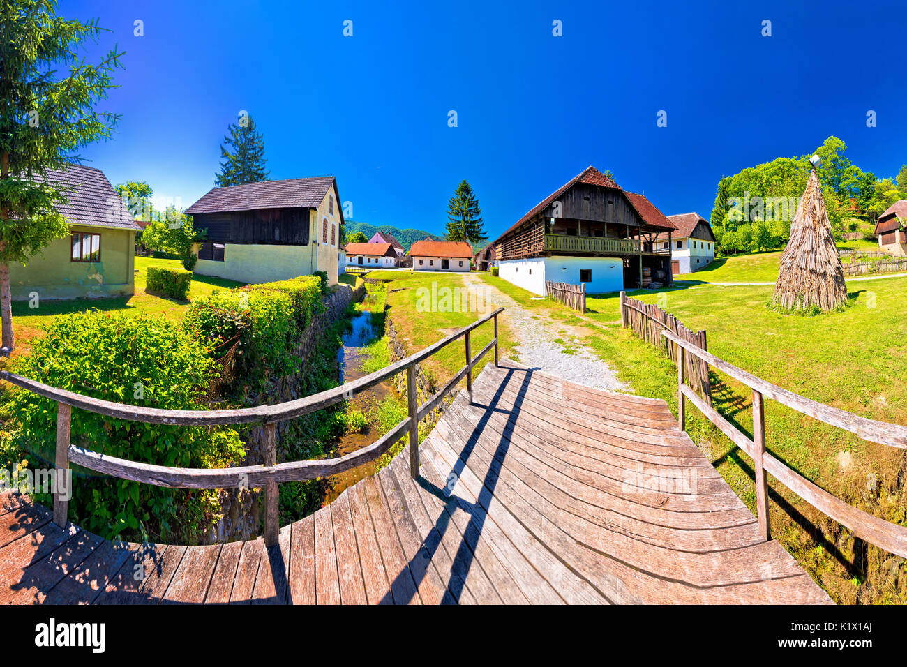 Traditional village of Kumrovec in Zagorje region of Croatia panoramic view, birth place of Josip Broz Tito Stock Photo