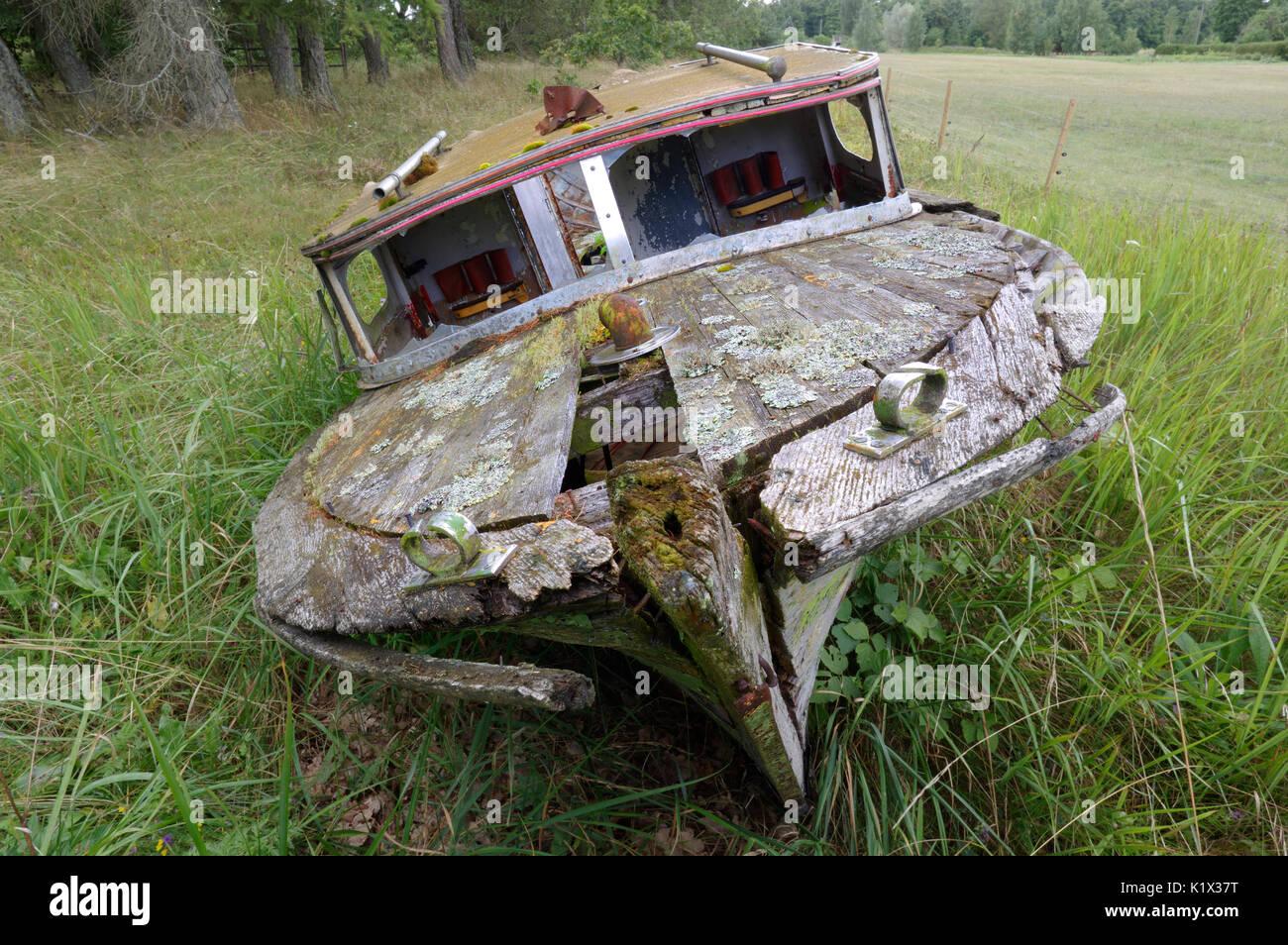 Old abandoned boat. Stock Photo