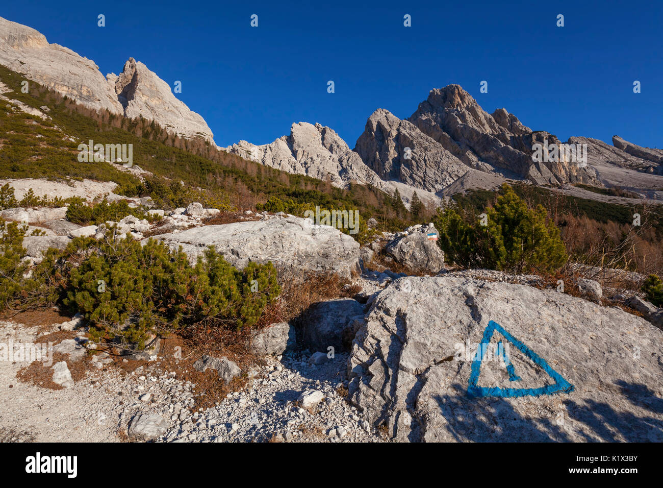 Europe, Italy, Veneto, Belluno, Agordino. The path of the Alta Via no. 1 at the foot of San Sebastiano and Tamer toward fork Moschesin, Dolomites. - Stock Image
