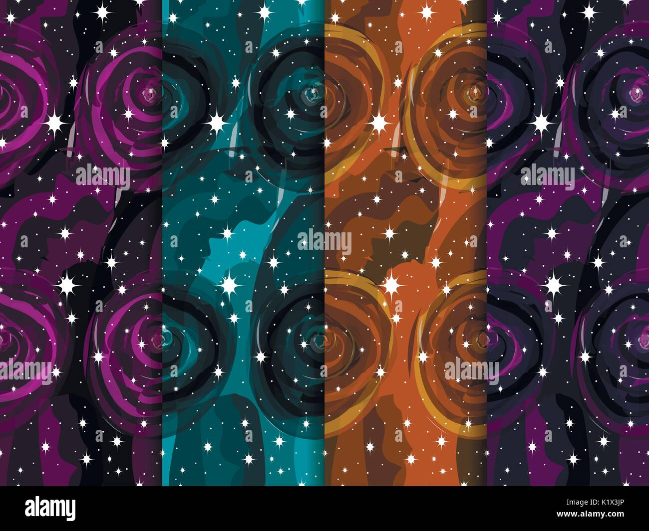 Watercolor space with stars is a seamless pattern. Outer space. Set of watercolor vector backgrounds - Stock Image