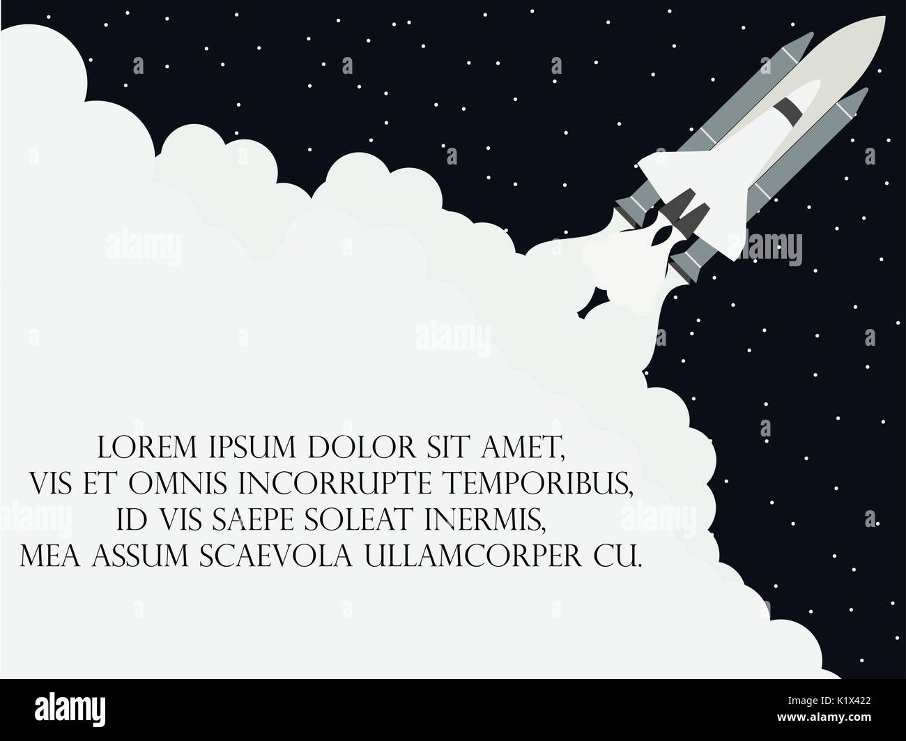 Space shuttle flat style. Launching the satellite. Take-off spaceship. Vector illustration - Stock Image