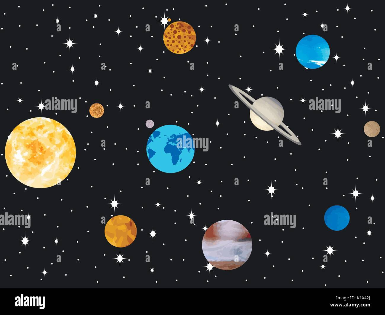 Planets of the solar system. Outer space, open space. Vector illustration - Stock Image